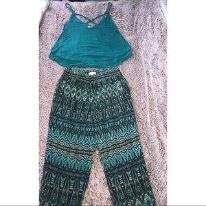 Tribal pants, blue/green crop top